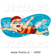 Vector of Happy Cartoon Boy Swimming by BNP Design Studio