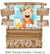 Vector of Happy Cartoon Boy Working at a Wood Lemonade Stand by BNP Design Studio
