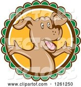 Vector of Happy Cartoon Brown Dog with Open Arms on a Round Label by Patrimonio