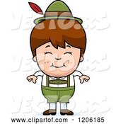 Vector of Happy Cartoon Brunette Oktoberfest German Boy by Cory Thoman