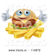 Vector of Happy Cartoon Cheeseburger Holding Two Thumbs up over French Fries by AtStockIllustration