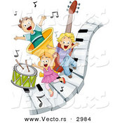Vector of Happy Cartoon Children Playing on Piano Keys with Music Notes and Instruments by BNP Design Studio