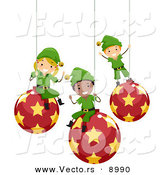 Vector of Happy Cartoon Christmas Elf Kids Sitting on Ornaments by BNP Design Studio