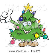 Vector of Happy Cartoon Christmas Tree Giving a Thumb up by Dennis Holmes Designs