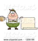 Vector of Happy Cartoon Chubby Oktoberfest German Guy Holding a Beer and Sign by Cory Thoman