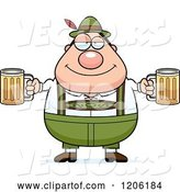 Vector of Happy Cartoon Chubby Oktoberfest German Guy Holding Two Beers by Cory Thoman