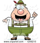 Vector of Happy Cartoon Chubby Oktoberfest German Guy with an Idea by Cory Thoman