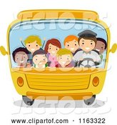 Vector of Happy Cartoon Diverse Children and a Driver in a Packed School Bus by BNP Design Studio