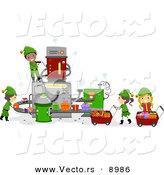 Vector of Happy Cartoon Elf Kids Working in Santa's Toy Factory by BNP Design Studio