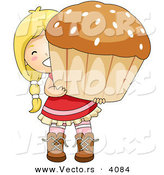 Vector of Happy Cartoon Girl Carrying Big Cupcake by BNP Design Studio