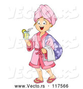 Vector of Happy Cartoon Girl with a Drink and Robe at a Spa by BNP Design Studio