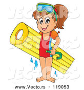Vector of Happy Cartoon Girl with an Inflatable Mattress and Snorkel Gear by Visekart
