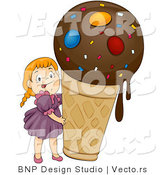 Vector of Happy Cartoon Girl with Large Ice Cream Cone by BNP Design Studio