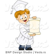 Vector of Happy Cartoon Graduate Boy Holding Opened Blank Scroll by BNP Design Studio