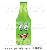 Vector of Happy Cartoon Green Beer or Soda Bottle Mascot by Graphics RF