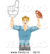 Vector of Happy Cartoon Guy Holding up a Number One Hand Glove and Football by BNP Design Studio
