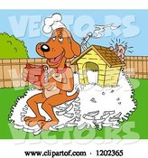 Vector of Happy Cartoon Hound Dog Chef Eating Ribs on a Pile of Bones by His House, a Pig Hiding by LaffToon