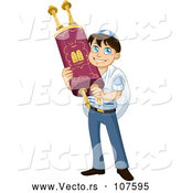Vector of Happy Cartoon Jewish Boy Holding a Torah for Bar Mitzvah by Liron Peer
