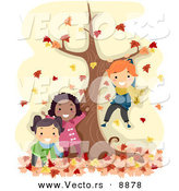 Vector of Happy Cartoon Kids Playing by a Tree with Autumn Leaves by BNP Design Studio