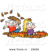 Vector of Happy Cartoon Kids Playing in a Pile of Autumn Leaves by Toonaday