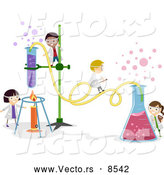 Vector of Happy Cartoon Kids Working on a Chemistry Experiment at School by BNP Design Studio