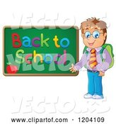 Vector of Happy Cartoon Male Student Presenting a Back to School Chalkboard by Visekart