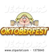 Vector of Happy Cartoon Oktoberfest German Lady by Cory Thoman