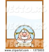 Vector of Happy Cartoon Oktoberfest German Lady Page Border by Cory Thoman