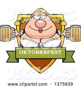 Vector of Happy Cartoon Oktoberfest German Lady Shield by Cory Thoman