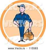 April 30th, 2018: Vector of Happy Cartoon Paramedic Guy with a First Aid Kit in a White and Orange Circle by Patrimonio