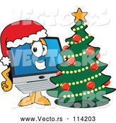 April 30th, 2018: Vector of Happy Cartoon PC Computer Mascot Wearing a Santa Hat by a Christmas Tree by Toons4Biz