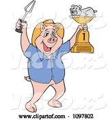 Vector of Happy Cartoon Pig Chef Holding up a Bbq Trophy Award by LaffToon