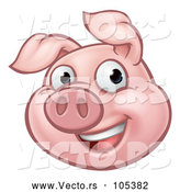 Vector of Happy Cartoon Pig Mascot by AtStockIllustration