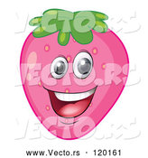 Vector of Happy Cartoon Pink Strawberry Mascot by Graphics RF