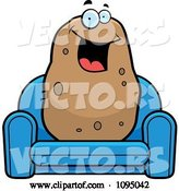 Vector of Happy Cartoon Potato Sitting on a Blue Couch by Cory Thoman