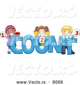 Vector of Happy Cartoon Preschool Children Beside the Word 'COUNT' by BNP Design Studio
