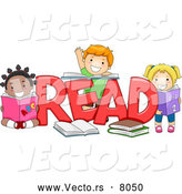 Vector of Happy Cartoon Preschool Children Beside the Word 'READ' by BNP Design Studio