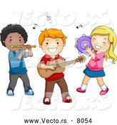 Vector of Happy Cartoon Preschool Children Playing Instruments by BNP Design Studio