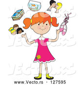 April 30th, 2018: Vector of Happy Cartoon Red Haired Girl Juggling Her Friends, School Books, Goldfish, Parents and Ballet Slippers by Maria Bell