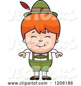 Vector of Happy Cartoon Red Haired Oktoberfest German Boy by Cory Thoman