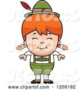 Vector of Happy Cartoon Red Haired Oktoberfest German Girl by Cory Thoman
