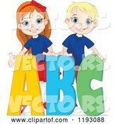 Vector of Happy Cartoon School Boy and Girl with ABC Alphabet Letters by Pushkin