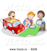 Vector of Happy Cartoon School Boys Making a Paper Car by BNP Design Studio