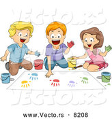 Vector of Happy Cartoon School Children Hand Painting in Art Classroom by BNP Design Studio