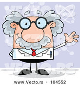Vector of Happy Cartoon Scientist Waving over Purple by Hit Toon