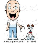 Vector of Happy Cartoon Senior Guy Ready to Walk His Dog by Cory Thoman