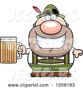 Vector of Happy Cartoon Short Oktoberfest German Guy Holding a Beer by Cory Thoman