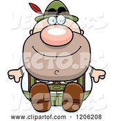 Vector of Happy Cartoon Short Oktoberfest German Guy Sitting by Cory Thoman
