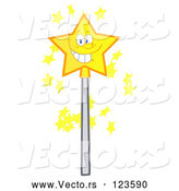 Vector of Happy Cartoon Smiling Star Magic Wand by Hit Toon