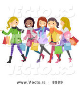 Vector of Happy Cartoon Teen Girls Christmas Shopping by BNP Design Studio
